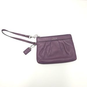 COACH Purple Leather Wristlet Silver Tone Hardware